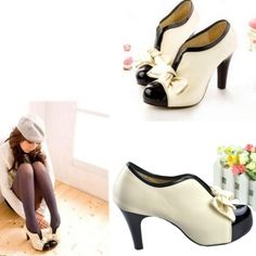I want these shoes! Only $7.23! Wish they weren't sold out :-(  Sexy Lady Beige Bow Pump Platform Women High Heel Shoes