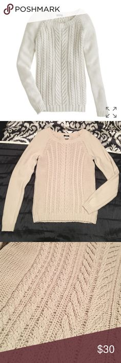 """J. Crew cotton cable sweater Excellent condition, no flaws to note - no snags, pilling, or pulls. Great heavy knit. Bust 14.75"""" flat, length 24.5"""" J. Crew Sweaters Crew & Scoop Necks"""
