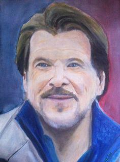 Ein Super Schauspieler. Mein Lieblings Tatort Kommissar Ölgemälde auf Ölmalkarton 30 x 40 cm