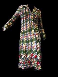 1960's/70's Roberta Di Camerino multi color trompe l'oeil pleat knit dress