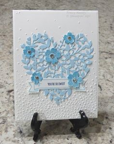 SUPPLIES:    PAPER: Whisper White, Bashful Blue  INK: Night of Navy, Marina Mist  STAMPS: Bear Hugs, Bloomin' Love  ACCESSORIES: Bloomin'...