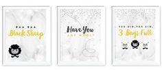 "3 Piece ""Baa Baa Black Sheep"" Nursery Kids Room Paper Print Set"