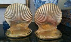 Vintage brass shell bookends // pair of brass bookends // beach decor // nautical decor