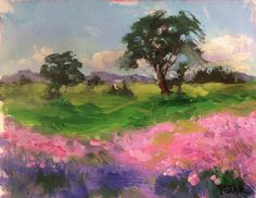Texas Hill Country acrylic painting, original art of pink and lavender fields and meadows with rolling prairie and hill country near Austin by RussPotakArtist on Etsy