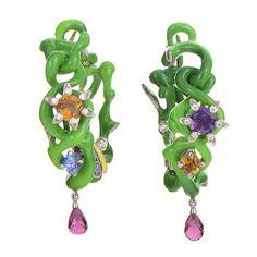 Dior Milly Carnivora Epinosa Verte Gemstone Gold Earrings | From a unique collection of vintage hoop earrings at https://www.1stdibs.com/jewelry/earrings/hoop-earrings/