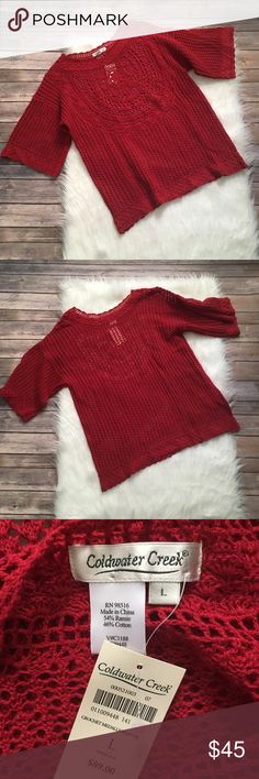 Coldwater Creek Red Crochet Sweater NWT  Bust-20 inches  Length-26 inches   NO HOLDS  NO TRADES NO MODELING  183 Coldwater Creek Sweaters