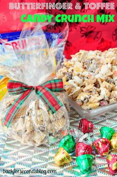 Butterfinger & Toffee Candy Crunch Mix @Back For Seconds #chexmix #christmas #snack (Peppermint Chex Mix)