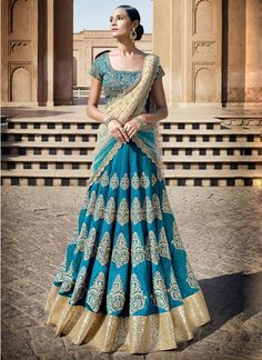 Elegant Blue Resham Work Net A Line Lehenga Choli