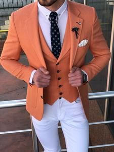 Collection: Spring – Summer 19 Product: Slim-Fit Cotton Suit Vest Color Code: Peach Available Size: Suit Material: cotton, linen Machine Washable: No Fitting: Slim-Fit Cutting: Double Slit, Double Button Package Include: Suit Clothes: Coat, Vest and Pants Blazer Outfits Men, Mens Fashion Blazer, Mens Fashion Wear, Suit Fashion, Casual Outfits, Moda Formal, Classy Suits, Designer Suits For Men, Man Dressing Style