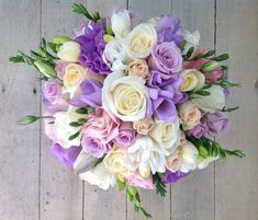 Pretty precious wedding bouquet in white, cream and lyric tones, using spring time freesias, roses and lizianthus. Purple Wedding Bouquets, Lilac Wedding, Prom Flowers, Bridesmaid Flowers, Bride Bouquets, Bridal Flowers, Flower Bouquet Wedding, Flower Bouquets, Country Wedding Decorations