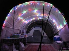 love the colorful lights? This is a  beautiful Burning Man Camp that you can easily do