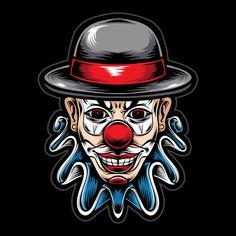 scary clown head vector logo - Buy this stock vector and explore similar vectors at Adobe Stock Scary Clown Face, Clown Faces, Evil Clowns, Scary Clowns, Et Tattoo, Printable Halloween Masks, Tatto Shop, Joker Character, Horror Cartoon