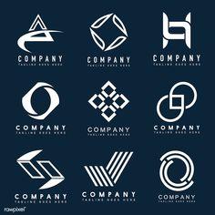 Set of company logo design ideas vector Free Vector Elegant Business Cards, Professional Business Cards, Design Company Names, Company Logo, Business Logo, Business Card Design, Eyelash Logo, Casino Logo, Lashes Logo
