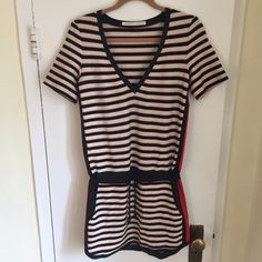 """Veronica Beard • V-neck Striped Dress Coverup Like new condition, never worn. Fits big on me so won't be able to model but wear this as a dress by itself or as a coverup by the pool or at the beach. Beautiful luxe fabric. Two side pockets w/ drawstrings. Removed size label but approx measurements reflect a small/medium. Meant to be worn a little loose. Laying flat: Chest 17.5"""" 