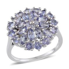 Tanzanite (Mrq) Cluster Ring in Platinum Overlay Sterling Silver 2.750 Ct.