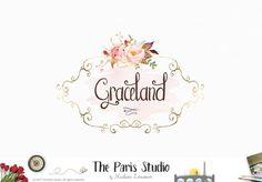 Watercolor Vintage Frame Floral Logo Design for artisan boutique branding, e-commerce website logo, wordpress blog logo, boutique logo, photography branding, wedding logo, website branding design.