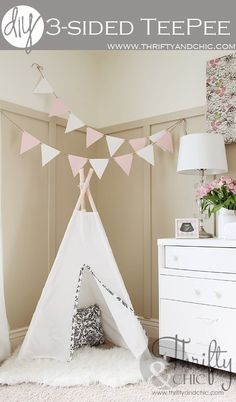 DIY 3 sided teepee. Uses PVC pipes for the frame.