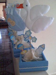 Centro de mesa baby shower niño -