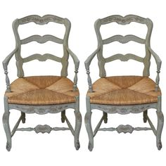 Pair of Country French Armchairs | From a unique collection of antique and modern armchairs at https://www.1stdibs.com/furniture/seating/armchairs/