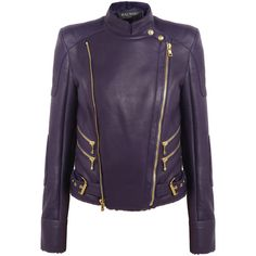 Balmain Shearling-lined leather jacket ($2,445) ❤ liked on Polyvore featuring outerwear, jackets, purple, balmain jacket, leather zip jacket, balmain, zipper leather jacket and genuine leather jacket