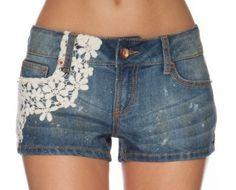 Amazon.com: Dollhouse Premium Juniors Crochet Overlay Denim Shorts: Clothing