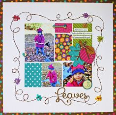 Leaves - Scrapbook.com - Love the color blocked design and fabulous twine frame for this pretty Fall layout!