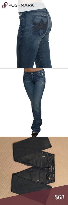 """7 for all mankind jeans 7 For All Mankind A Pocket Hazine Stud Flare Womens Jeans Size 27  Hand Measurements: Waist: 27"""" Inseam: 35"""" Rise: 7.5"""" Hips: 38"""" Leg Opening: 9""""  Style # AU130Y202C.  In practically new condition!! 7 For All Mankind Pants Boot Cut & Flare"""