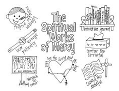 The Spiritual Works of Mercy Coloring Page- Free printable for Catholic Kids Religion Activities, Teaching Religion, Church Activities, Catholic Schools Week, Catholic Kids, Catholic Crafts, Church Crafts, Kids Church, Corporal Works Of Mercy