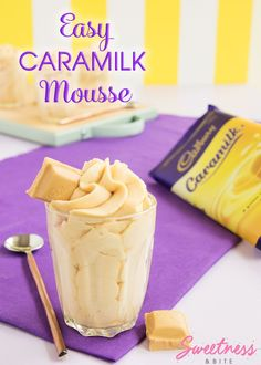 Easy Caramilk Mousse - Super easy, two-ingredient Caramilk Mousse recipe. If you love Cadbury's Caramilk chocolate, you will love this! If you can get your hands on one of these hard-to-find blocks of chocolate gold, this is the perfect way to use it. Mini Desserts, Christmas Desserts, Easy Desserts, Delicious Desserts, Yummy Food, Thermomix Desserts, Quick Dessert Recipes, Cold Desserts, Christmas Ideas