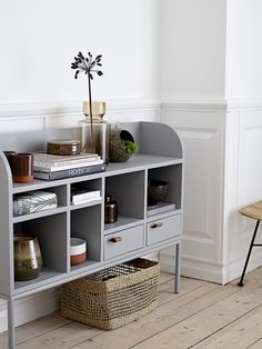 Scandinavian style interior and decor, storage unit, grey