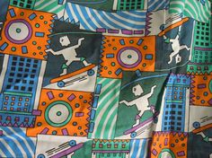 80s Skateboarder City Scape Vintage Fabric by evepeachart on Etsy, $26.00