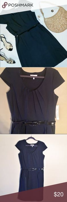 NWT navy retro dress NWT dark navy retro dress accentuates curves and nips in at your waistline to give you an hourglass figure. Comes with belt. Sz 14 but seems smallish. Can provide measurements if desired. **credit for styled pic goes to Pinterest**. Dresses