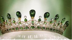 An exquisite emerald & diamond tiara designed by Queen Victoria's husband, Prince Albert. Now owned by the Earl of Harwood.