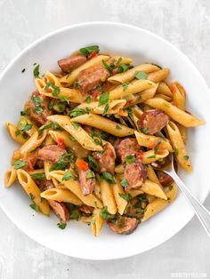 Celebrate like you're in Louisiana with this easy, filling, and inexpensive one pot favorite, Pastalaya. It's the shortcut pasta version of Jambalaya! BudgetBytes.com