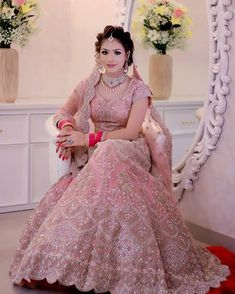 Indian wedding gowns - So pretty cute 😍♥️👌 Pink Bridal Lehenga, Designer Bridal Lehenga, Indian Bridal Lehenga, Pakistani Bridal Dresses, Indian Dresses, Bridal Sarees, Bollywood Bridal, Pink Lehenga, Net Lehenga
