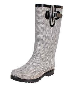 Gray & White Herringbone Puddles Rain Boot