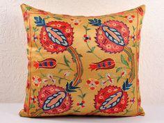 19x18 Vintage Hand Embroidered Uzbek Suzani Pillow MSP104-9