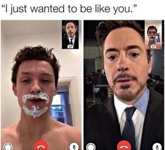 Znalezione obrazy dla zapytania peter parker and tony stark i just wanted to be like you