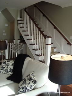 stairs- paneling and runner, minus the handrail