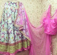 Archive: Raw silk floral lehenga with net blouse and net dupatta - Delhi - Clothes