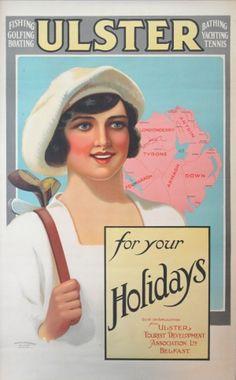 Ulster Holidays Female Golfer, 1920s - original vintage poster listed on AntikBar.co.uk