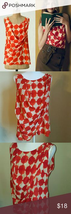 """⬇️Anthro """"Quantum Blouse"""" From Anthropologie, """"Bridged dots span the drapey surface of Maeve's silk tank. Pullover style. Pleat and faux wrap detailing. Unlined. 100% Silk""""   Super cute red polka dot sleeveless top from Anthropologie. Loose, draped, & perfect for warmer weather. No defects or signs of wear. Anthropologie Tops"""