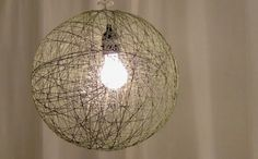 DIY twine pendant lamp--how cool is this? (For the how-to video, visit http://www.feltandwire.com/2011/08/31/twinespiration-to-spark-your-pinterest/)