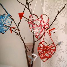 Yarn Heart Crafts | eHow - wire wrapped bark.
