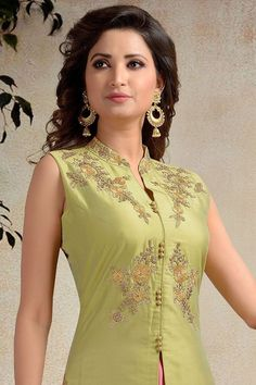 Picture of Tempting green & pink designer suit