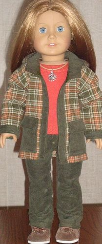 Plaid Jacket & Corduroy Jeans Outfit For American Girl Or Similar 18-Inch Dolls. $42.99, via Etsy.