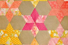diamonds and hexies layout epp perfect stitching Paperpieces.com