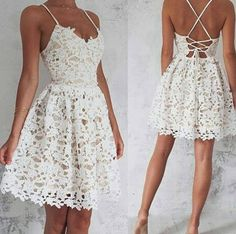 Sexy Short Open Back Spaghetti Straps V-neckline Lace Prom Dress