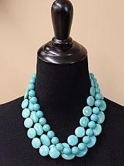 Turquoise Beaded Stone Necklace