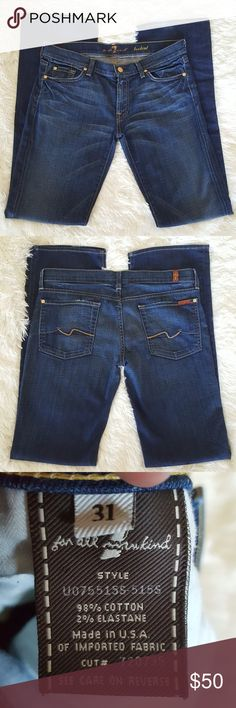 """7 for All Mankind Bootcut Jeans Size 31 Almost perfect condition except some minimal wear on hem(shown in pic), 17"""" Across Back of Waistband, 34"""" Inseam/Length, 98% Cotton & 2% Elastane,                    Soft  Lightweight Material 7 For All Mankind Jeans Boot Cut"""